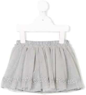 Fendi heart embroidered tulle skirt