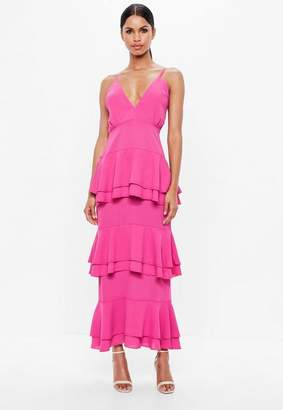 Missguided Pink Strappy Tiered Frill Maxi Dress