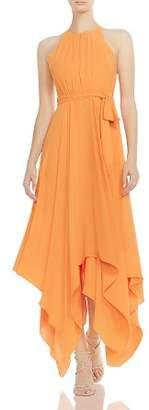 Halston Strappy & Belted Handkerchief-Hem Maxi Dress