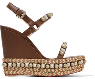 Christian Louboutin - Cataconico 120 Embellished Leather Wedge Sandals - Brown $795 thestylecure.com
