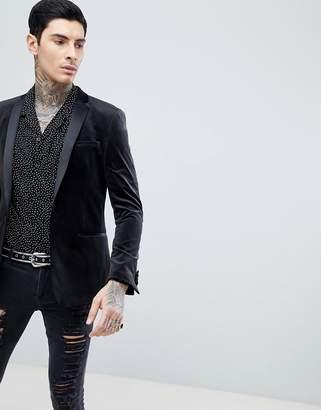 Asos Design Skinny Blazer In Black Velvet