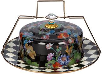 Mackenzie Childs MacKenzie-Childs - Flower Market Enamel Cake Carrier - Black