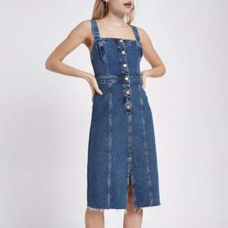 River Island Womens Petite mid blue fitted button denim dress