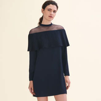Maje Dress with crepe pleated frill
