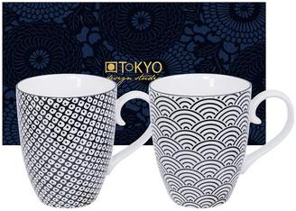 Design Studio Tokyo Nippon Black Mug Set - Set of 2 - Wave/Raindrop