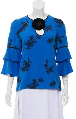 Andrew Gn Fluted Embroidered Top
