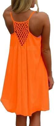 Efanr Women Spaghetti Strap Back Howllow Out Summer Chiffon Beach Short Dress