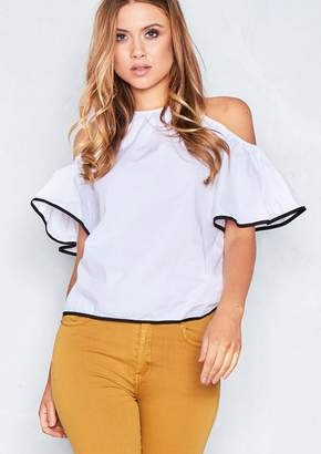 bae08ea5ab604a Missy Empire Missyempire Montana White Cold Shoulder Bell Sleeve Top