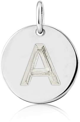 Auree Jewellery - Westbourne 9Ct White Gold Initial Disc Pendant