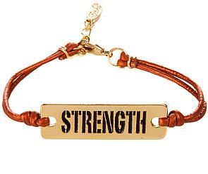 Ettika The Strength Statement Plate Leather Bracelet in Metallic Copper