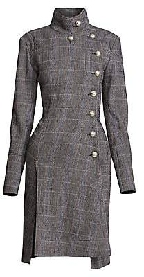 Chloé Women's Stretch Wool Check High Neck Trench Coat