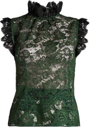 Dolce & Gabbana Ruffle-trimmed cordonetto-lace top