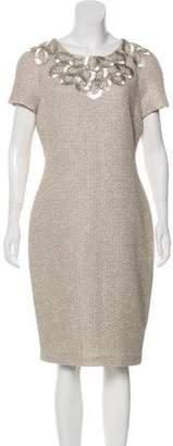 St. John Embellished Wool-Blend Dress w/ Tags