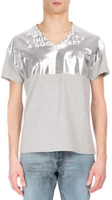 Maison Margiela AIDS Awareness Metallic & Slub V-Neck T-Shirt, Beige