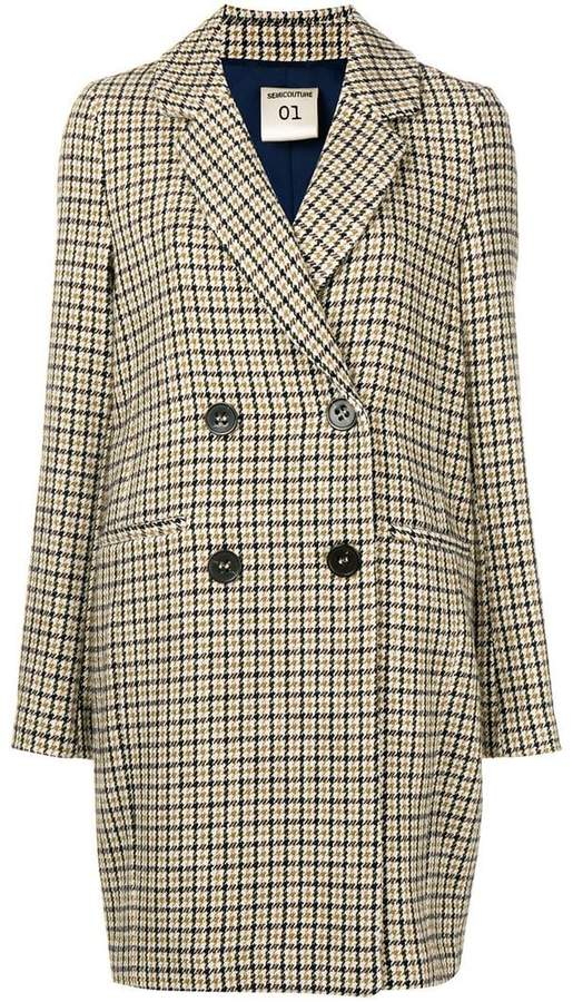 Semicouture checked double breasted coat