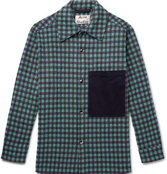 Acne Studios Oversized Twill-trimmed Checked Flannel Overshirt - Purple