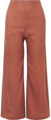 Faithfull The Brand Scelsi Cropped Linen Wide-leg Pants - Light brown