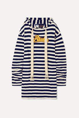 Loewe Paula's Ibiza Hooded Appliquéd Striped Jersey Dress - Navy