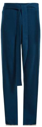Pepper & Mayne - Tie Waist Cashmere Palazzo Trousers - Womens - Navy