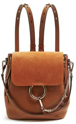 Chloé Faye Small Suede And Leather Backpack - Womens - Tan