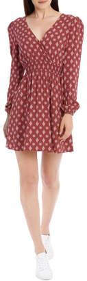 Miss Shop Shirred Waist Long Sleeve Dress