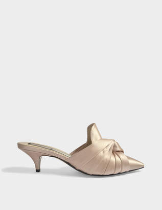 N°21 Satin Mule Shoes with Cross Front in Nude Synthetic Fabric