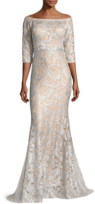 Jovani 3/4-Sleeve Lace Off-the-Shoulder Mermaid Gown, Light Blue/Nude $650 thestylecure.com