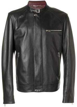 Dolce & Gabbana buckle collar leather jacket