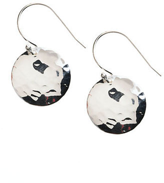Lord & Taylor Sterling Silver Hammered Disc Drop Earrings $80 thestylecure.com