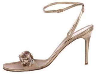 Rene Caovilla Leather Ankle Strap Sandals