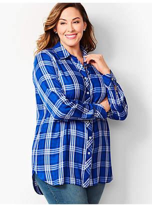 Talbots Plus Size Exclusive Longer-Length Button-Front Shirt - Blue Plaid