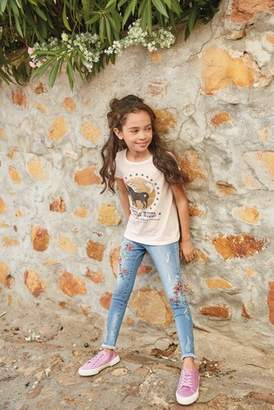 Next Girls Mid Blue Floral Embroidered Skinny Jeans (3-16yrs)