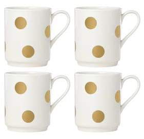 Kate Spade Four-Piece Deco Dot Gold Mug Set