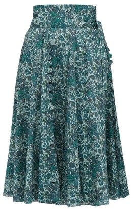 Horror Vacui Sophie Scalloped Floral Print Cotton Skirt - Womens - Green Multi