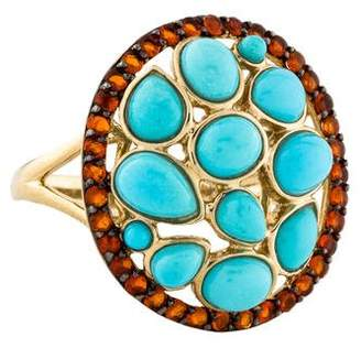 LALI Jewels 14K Turquoise & Fire Opal Cocktail Ring