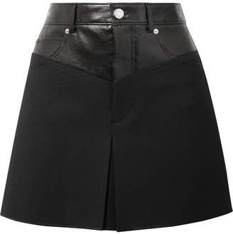Helmut Lang Leather-paneled Wool-blend Mini Skirt - Black