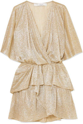 IRO Ruffled Lamé Mini Dress - Beige