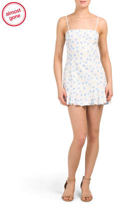 Juniors Ditsy Square Neck Ruffle Hem Dress