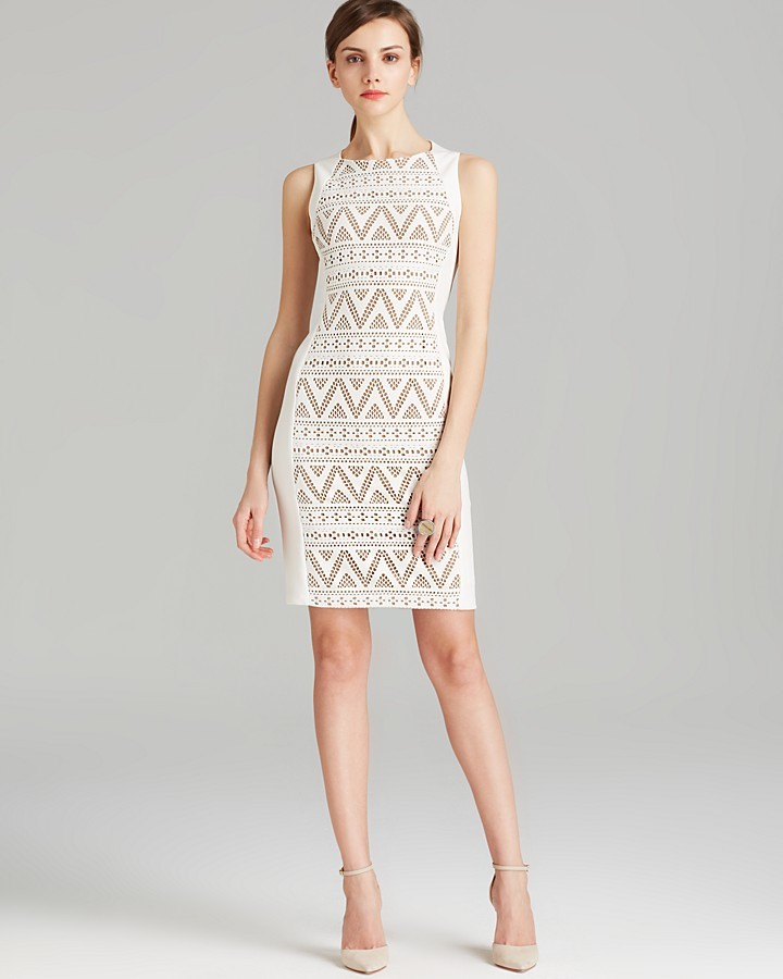 Anne Klein Dress - Sleeveless Texture Knit Patterned Sheath