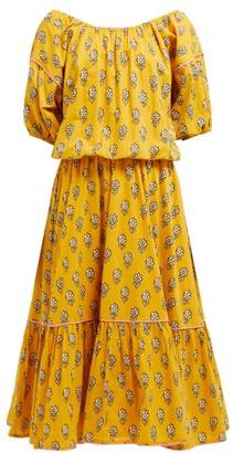 Rhode Resort Frida Floral Print Cotton Voile Midi Dress - Womens - Yellow Print