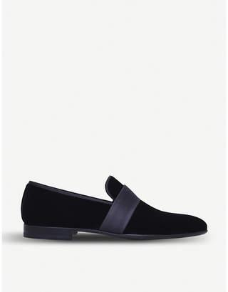 Satin-trimmed velvet loafers