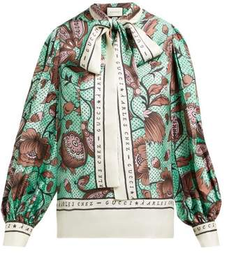 3bd85da851aec Gucci Alsacienne Print Pussy Bow Silk Faille Blouse - Womens - Green Multi