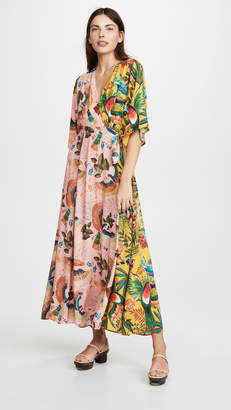 31ee7b519df4d FARM Rio Birds In the Wild Wrap Maxi Dress