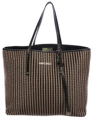 8d62c3daf4 Pre-Owned at TheRealReal · Jimmy Choo Leather-Trimmed Sasha Woven Tote Bag