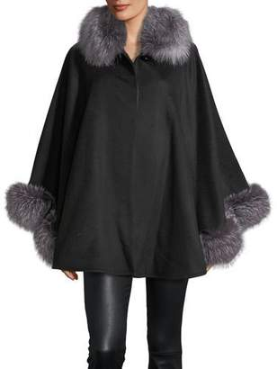 Sofia Cashmere Fur-Trim Wool-Blend Cape