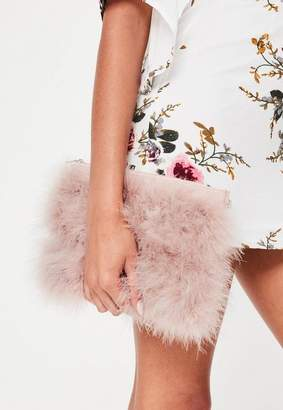 Missguided Pink Feather Zip Front Clutch