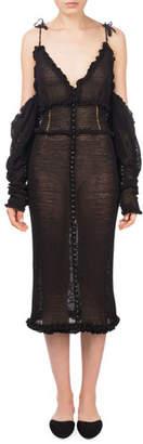 Magda Butrym Castro V-Neck Cold-Shoulder Midi Crochet Dress