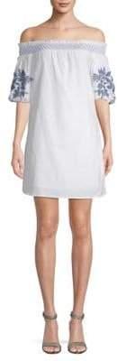 Off-The-Shoulder Cotton Shift Dress