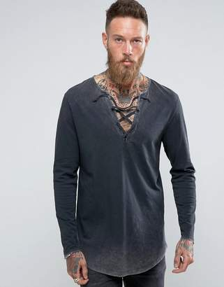 Asos Super Longline Long-Sleeve T-Shirt With Acid Wash And Lace-Up Neck