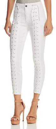 Pistola Lynn Lace-Up Skinny Jeans in White Light